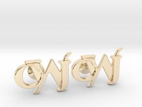 Monogram Cufflinks CJW in 14K Yellow Gold