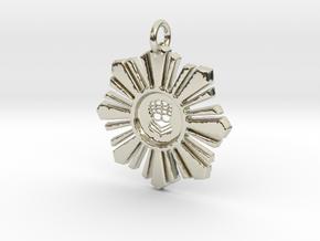 Silver Hand Medallion in 14k White Gold