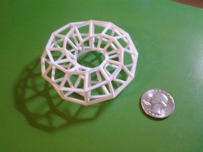 Hexagonal Torus (Wireframe) in White Natural Versatile Plastic