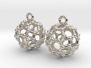 BuckyBall C60 Earrings 1 cm. 2 pieces. in Platinum