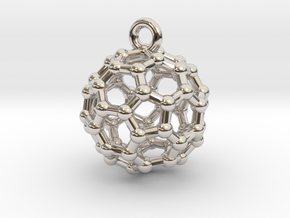 BuckyBall C60 Pendant 1 cm in Rhodium Plated Brass