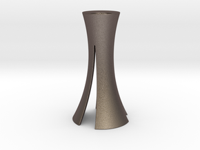 Candle Stick Holder in Polished Bronzed Silver Steel