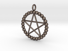 Beads pentagram necklace in Polished Bronzed Silver Steel