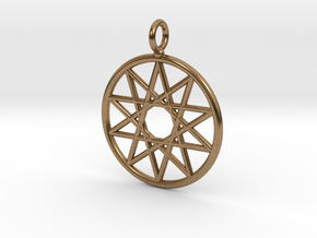 Simple decagram necklace in Natural Brass