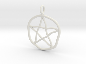 Warped pentagram necklace in White Natural Versatile Plastic