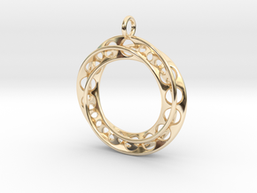 Moebius Band Ø 30mm with Big Loop in 14k Gold Plated Brass