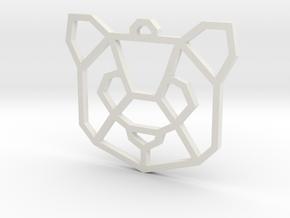 Geometric Panda Pendant in White Natural Versatile Plastic