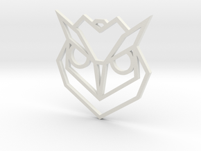 Geometric Owl Pendant in White Natural Versatile Plastic