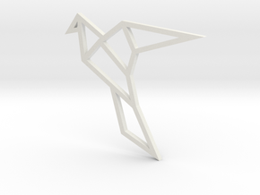 Geometric Bird Pendant in White Natural Versatile Plastic