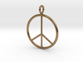 Peace symbol necklace in Natural Brass