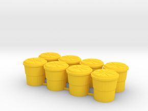 Highway Shock Absorbing Crash Barrel, Standard in Yellow Processed Versatile Plastic: 1:64 - S