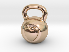 Kettlebell In My Heart in 14k Rose Gold Plated Brass