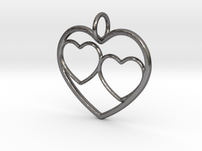 Heart Pendant for Mom with Twins in Polished Nickel Steel