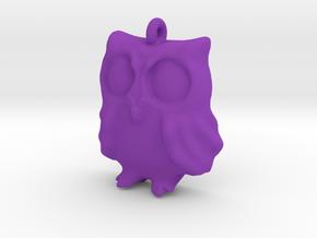 Owl Pendant in Purple Processed Versatile Plastic