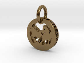 FREEDOM (precious metal pendant) in Polished Bronze