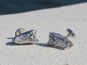 Alligator (Gator) Cufflinks in Rhodium Plated Brass