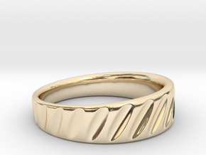 Ring Rotation Gradient Scallops in 14k Gold Plated Brass
