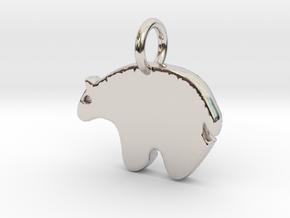 Bear Charm in Rhodium Plated Brass
