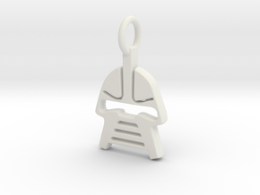 Cylon Charm in White Natural Versatile Plastic
