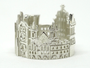 Prague Cityscape - Skyline Statement Ring in Polished Silver
