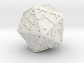 Vertex RPG D20 55mm in White Natural Versatile Plastic