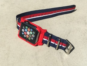 Apple Watch Case - 42mm For 24mm NATO / RAF Strap  in Red Strong & Flexible Polished