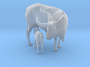 Ankole-Watusi 1:20 Mother and Calf in Smooth Fine Detail Plastic