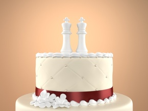 Chess Cake Topper (King and King) in White Strong & Flexible: Small