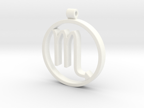 Scorpio Zodiac Sign Pendant in White Processed Versatile Plastic