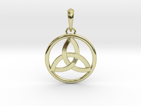 Pendant Amulet Triquetra Celtic Trinity Knot in 18k Gold Plated Brass