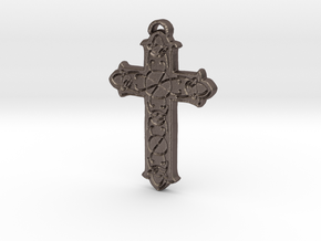 Celtic Cross in Polished Bronzed Silver Steel: Small