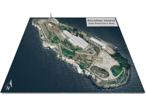 "Alcatraz Island Map: 8""x10"" in Matte Full Color Sandstone"