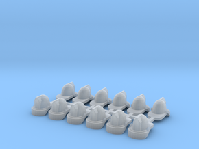 1/64 Fire Helmets (12) in Smooth Fine Detail Plastic