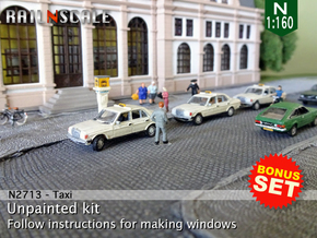 BONUS SET Taxi (N 1:160) in Smooth Fine Detail Plastic