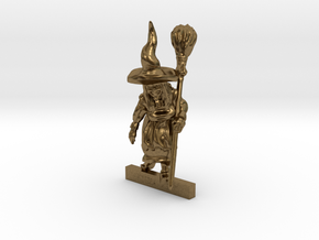 WITCH with BROOMSTICK 28mm miniature in Natural Bronze