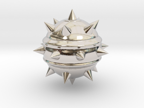 High-Poly Stickybomb (Solid) in Rhodium Plated Brass: Extra Small