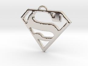 Superman Pendant in Rhodium Plated Brass