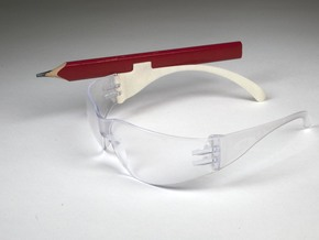 Safety Glasses Pencil Clip in White Natural Versatile Plastic