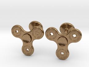 Fidget Spinner Cufflinks - LARGE in Natural Brass