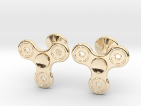 Fidget Spinner Cufflinks - LARGE in 14k Gold Plated Brass