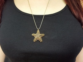 Starfish Pendant (Earrings) in Polished Bronze
