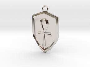 Order Shield Pendant in Rhodium Plated Brass