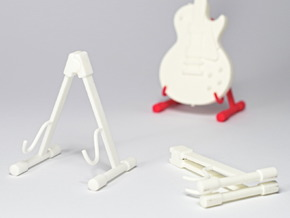Foldable guitar stand, in the scale 1:6 in White Processed Versatile Plastic