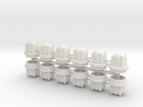 1/16 M41 Wheel Hubs. in White Natural Versatile Plastic