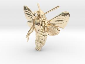 Hummingbird Hawk-Moth Pendant (solid version) in 14k Gold Plated Brass