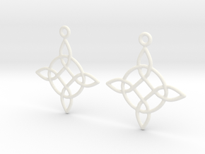 Celtic Weave Earrings - WE023 in White Processed Versatile Plastic