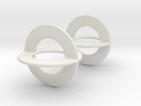 Earrings CC Pair in White Natural Versatile Plastic