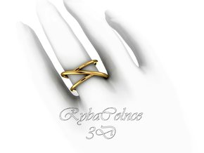 Ring The Asymmetry / size  7US ( 17,7 mm) in 14k Gold Plated