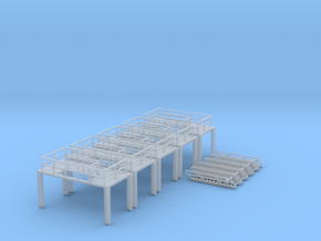 N Scale 5x Refinery Stairs (modular) in Smooth Fine Detail Plastic