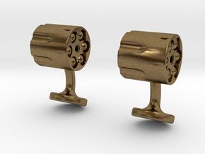 Revolver Cufflinks in Natural Bronze